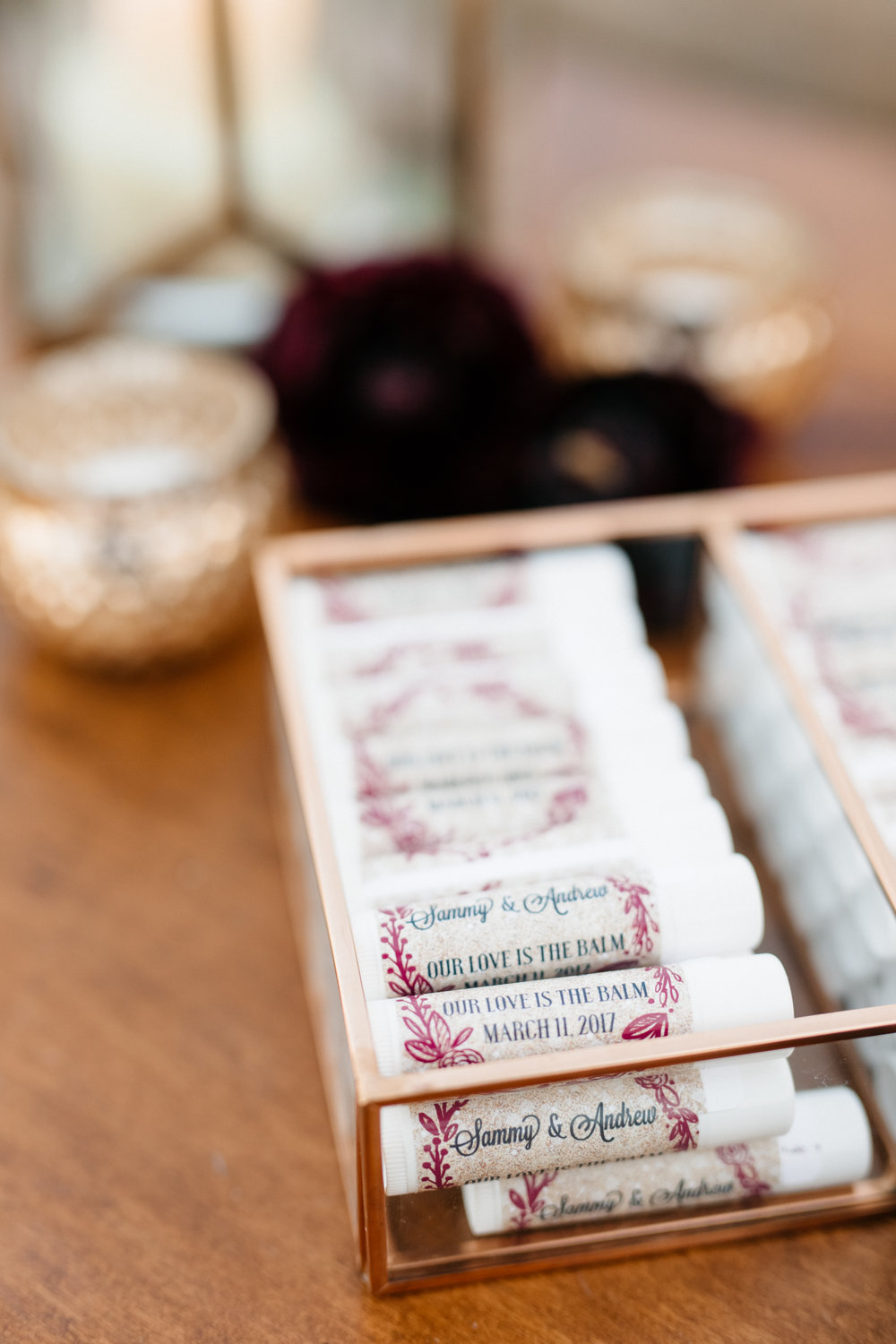 """Our love is the balm"" - Lip Balm for wedding guest takeaway"