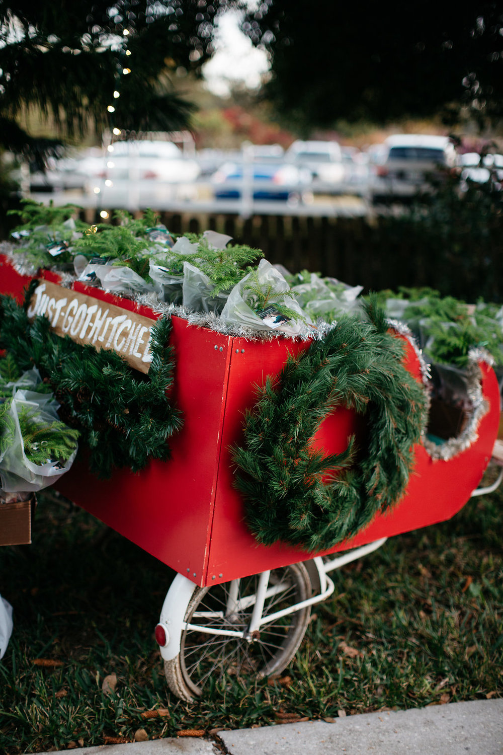 Holiday themed wedding with a Christmas sled