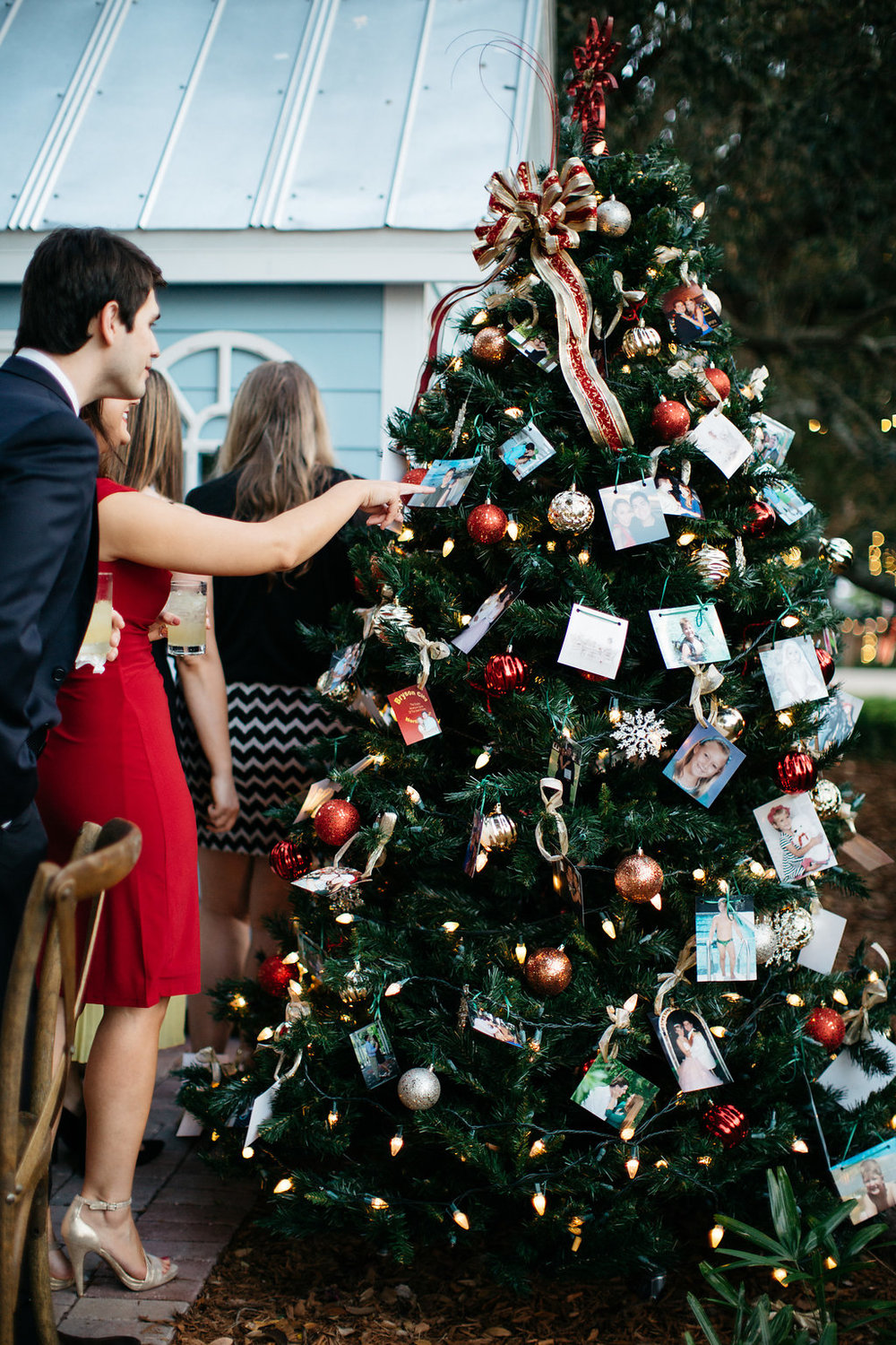 Christmas tree decorated with pictures of Savannah and Brian, Windermere Wedding