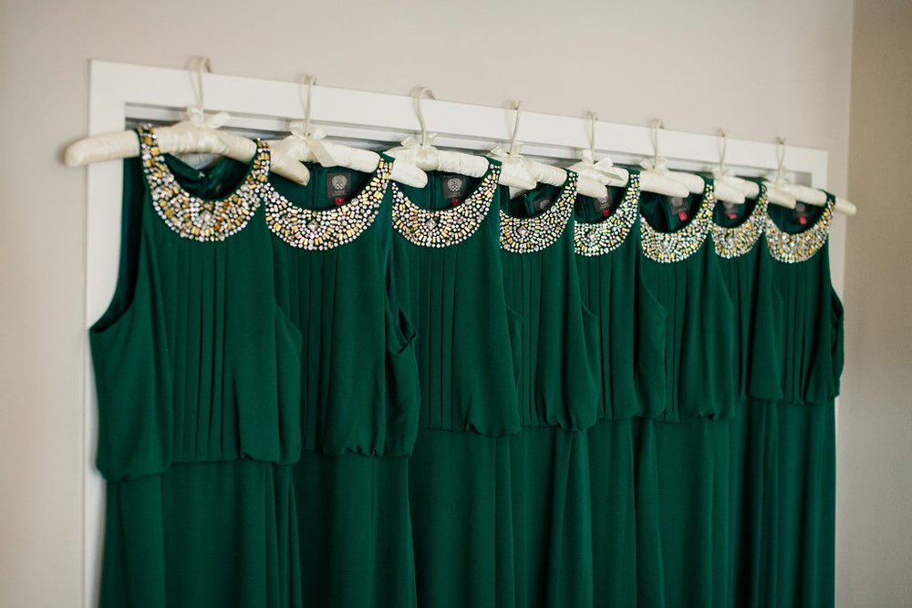 Emerald bridesmaid dresses by Vince Camuto