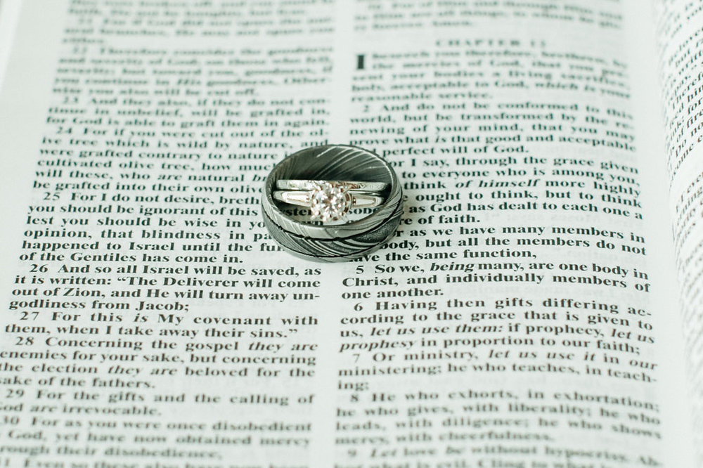 Wedding rings with their favorite scripture