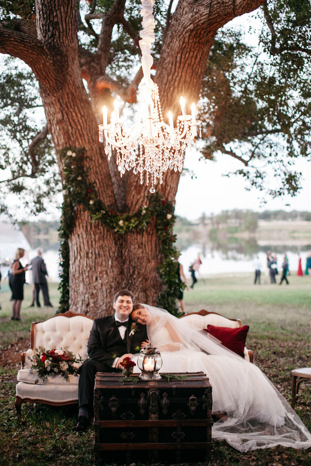 Gorgeous chandeliers to complete the picture lounge setting, Windermere Weddings