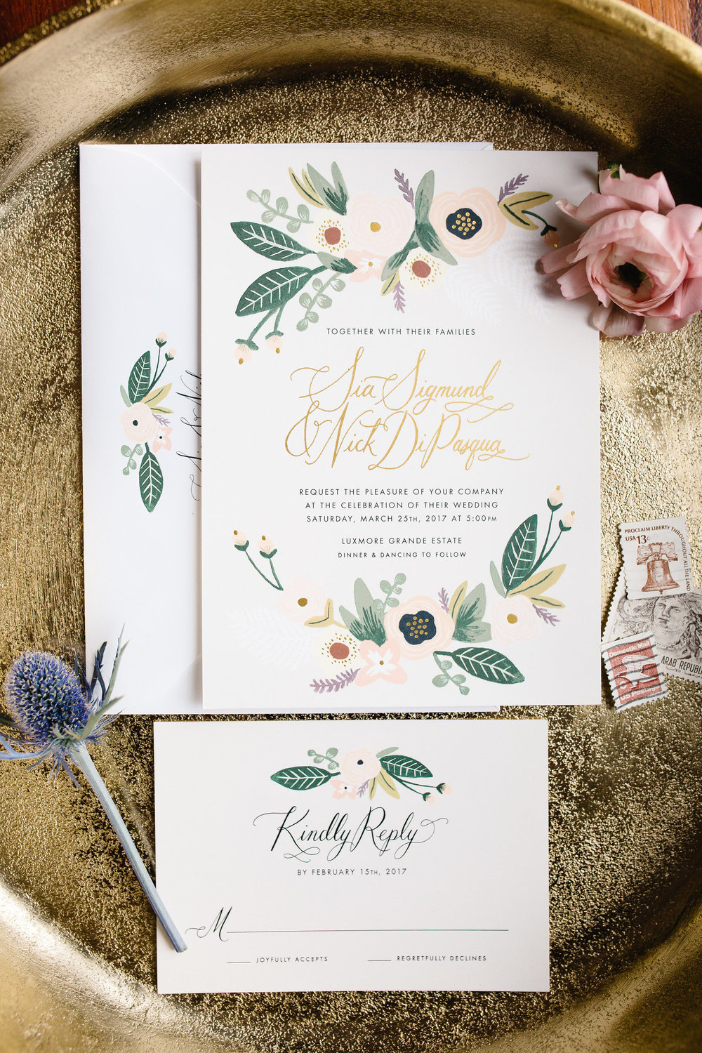 Rifle Paper Co. Botanical Wedding Invitations  Orlando Wedding Planner Blue Ribbon Weddings  Orlando Wedding Photographer JP Pratt Photography  Wedding Ceremony & Reception at Luxmore Grande Estate