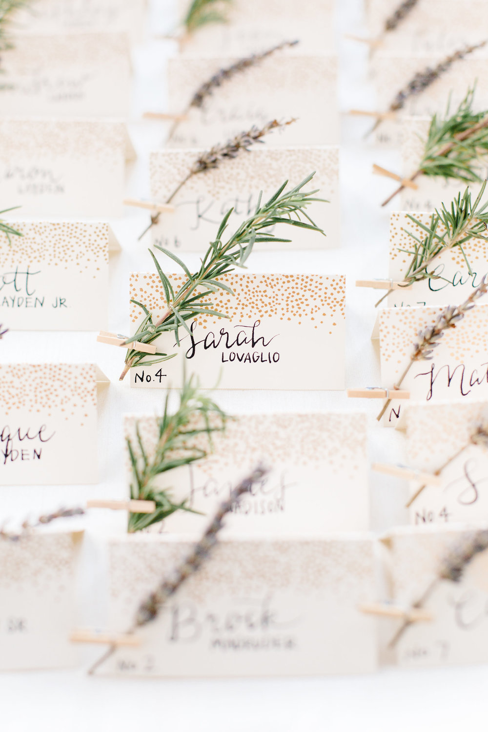 Escort cards for wedding guests