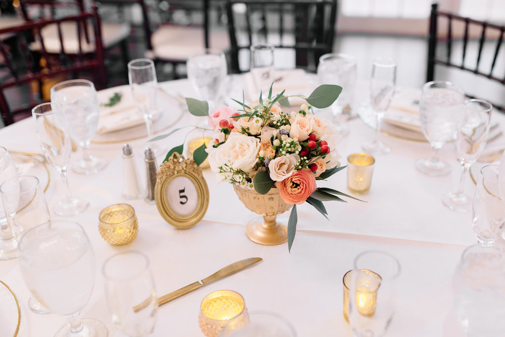 Reception tablescapes with gold votives