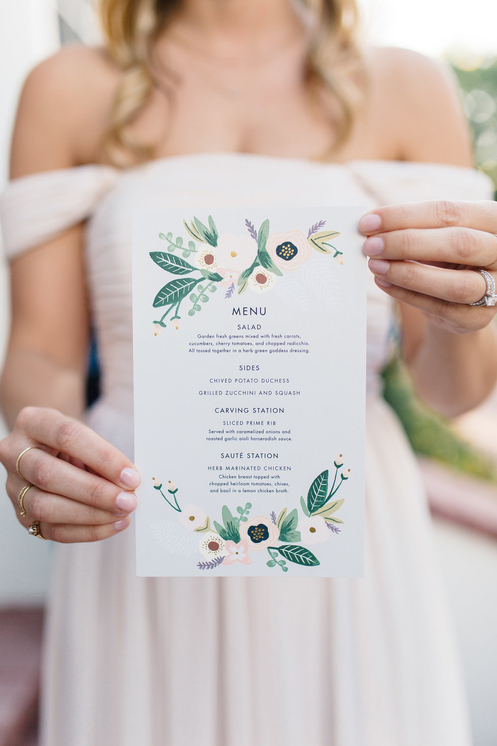 Rifle Paper Co. custom wedding menu card