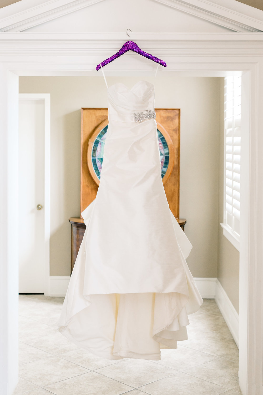 Gorgeous satin wedding gown, downtown Orlando Wedding