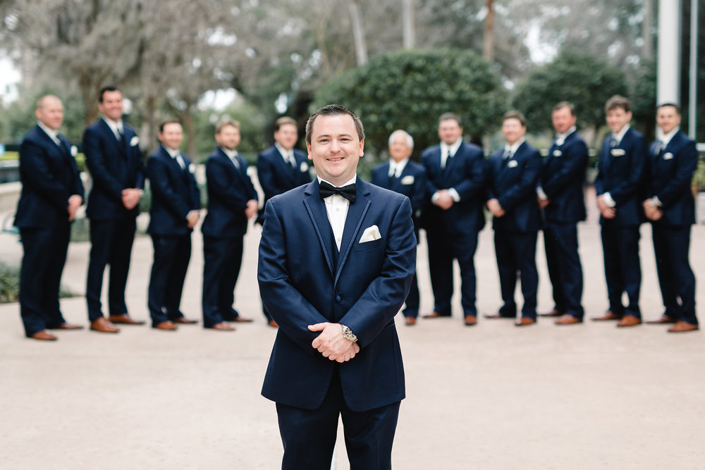Navy groomsmen suits, Downtown Orlando wedding