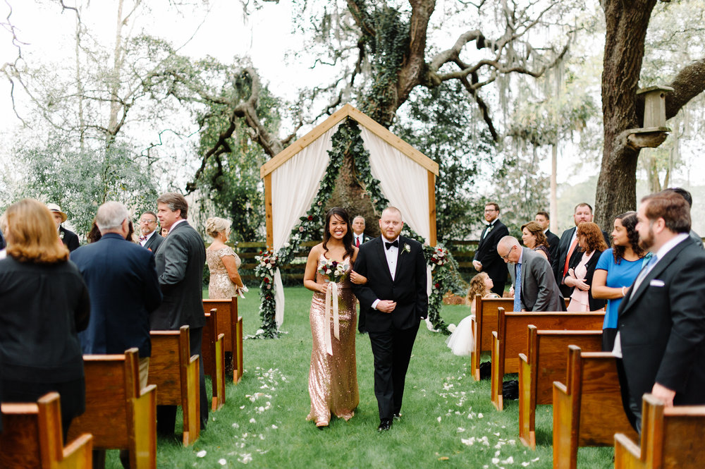 Wedding recessional at Isola Farms