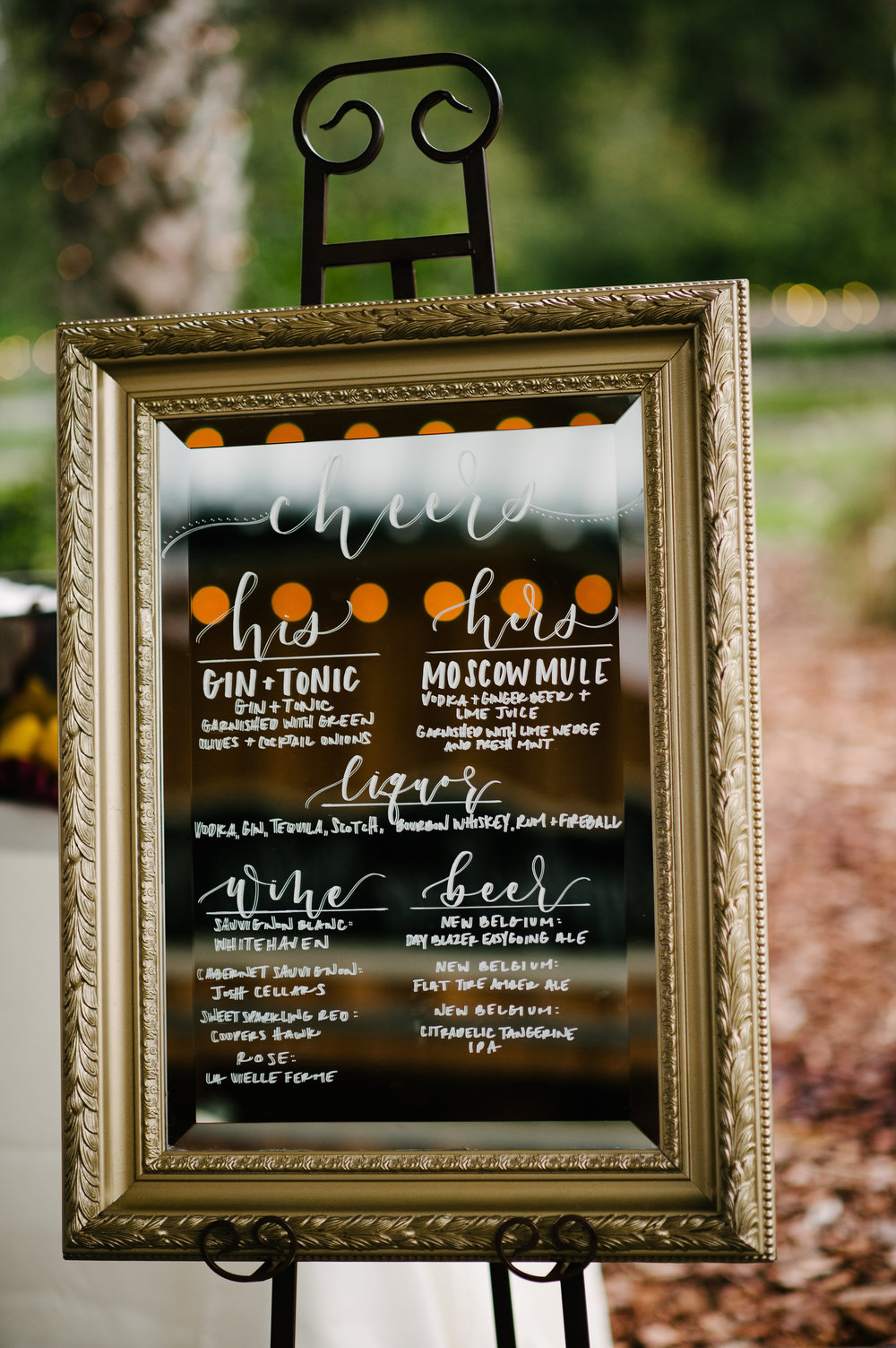 Signature beverage signage by Do Tell Calligraphy