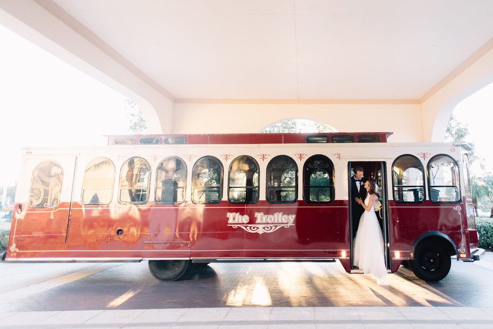 Trolley ride to the wedding reception