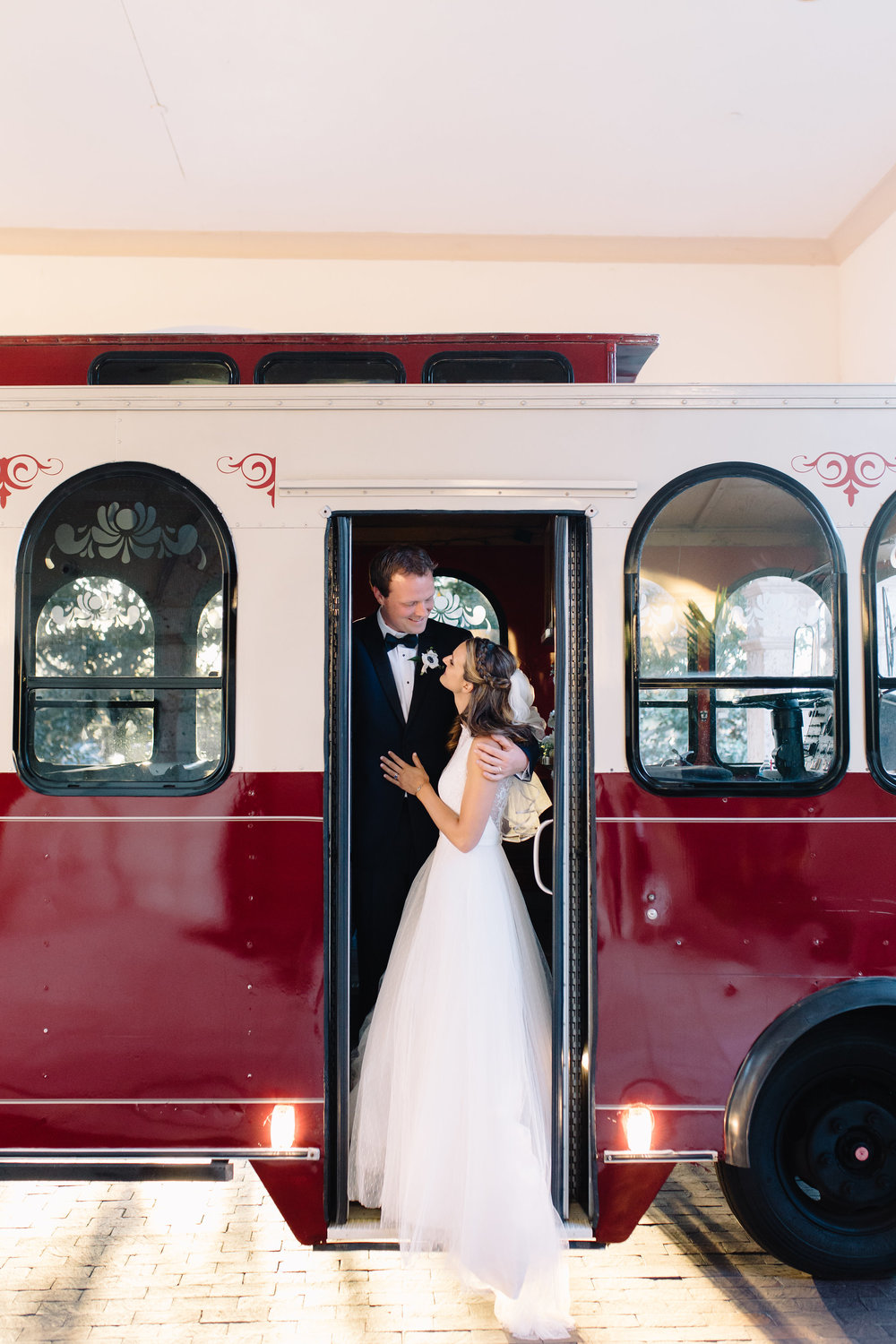 Trolley cars are the best kind of wedding transportation