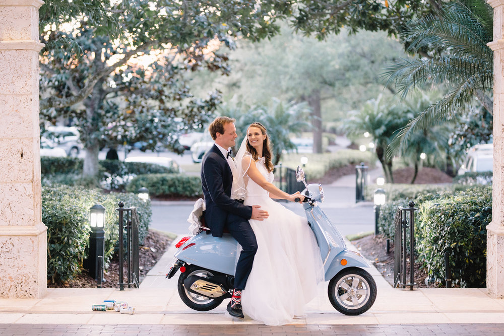 Light blue Vespa, Winter Park Weddings