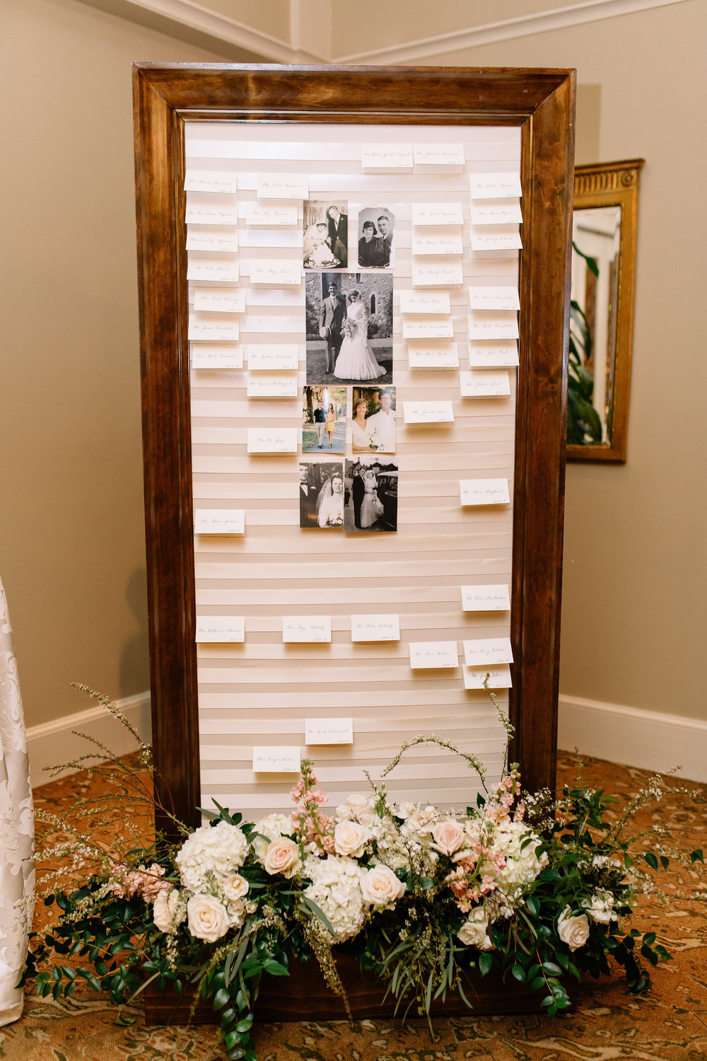 Beautiful escort card display, Interlachen Country Club Wedding Reception