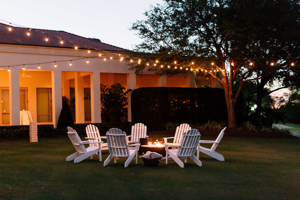 Cocktail hour fire pit, Interlachen Country Club Reception