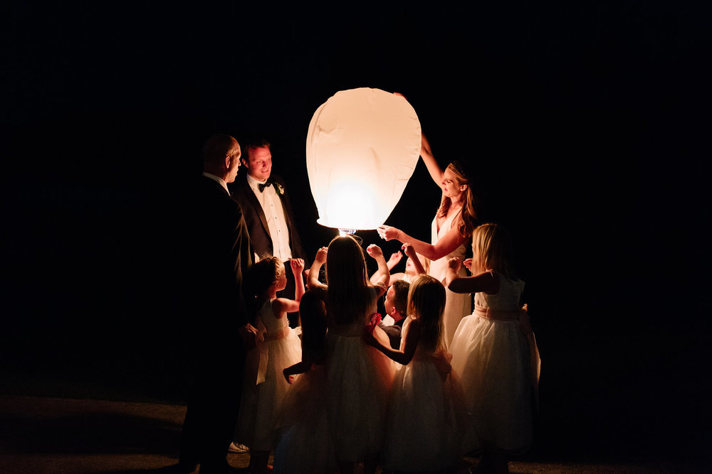 Lanterns lifted to the sky, Winter Park Weddings