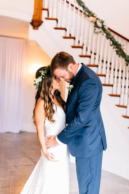 Luxmore Grande Estate first look photos stairs Orlando Wedding Planner