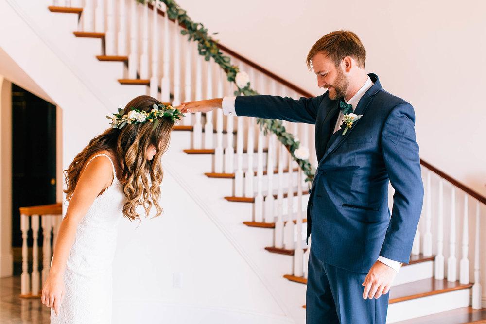 Luxmore Grande Estate first look photos foyer Orlando Wedding Planner