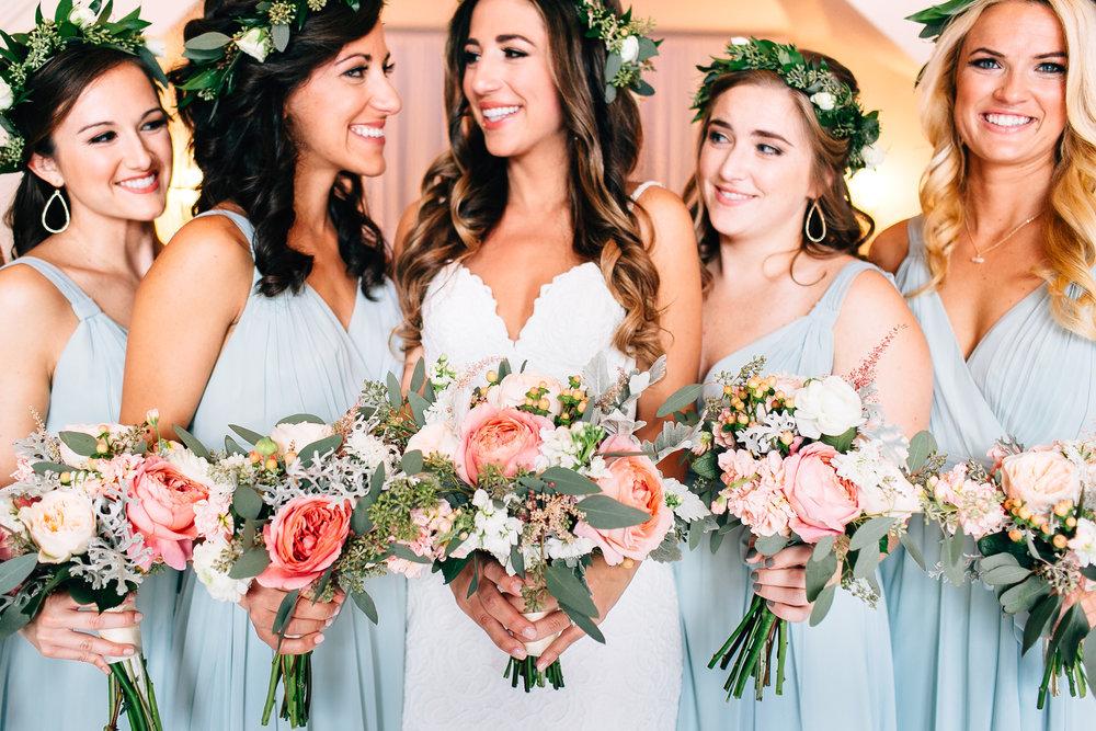 Bridesmaids dusty blue dresses garden bouquets Orlando Wedding Planner Blue Ribbon Weddings