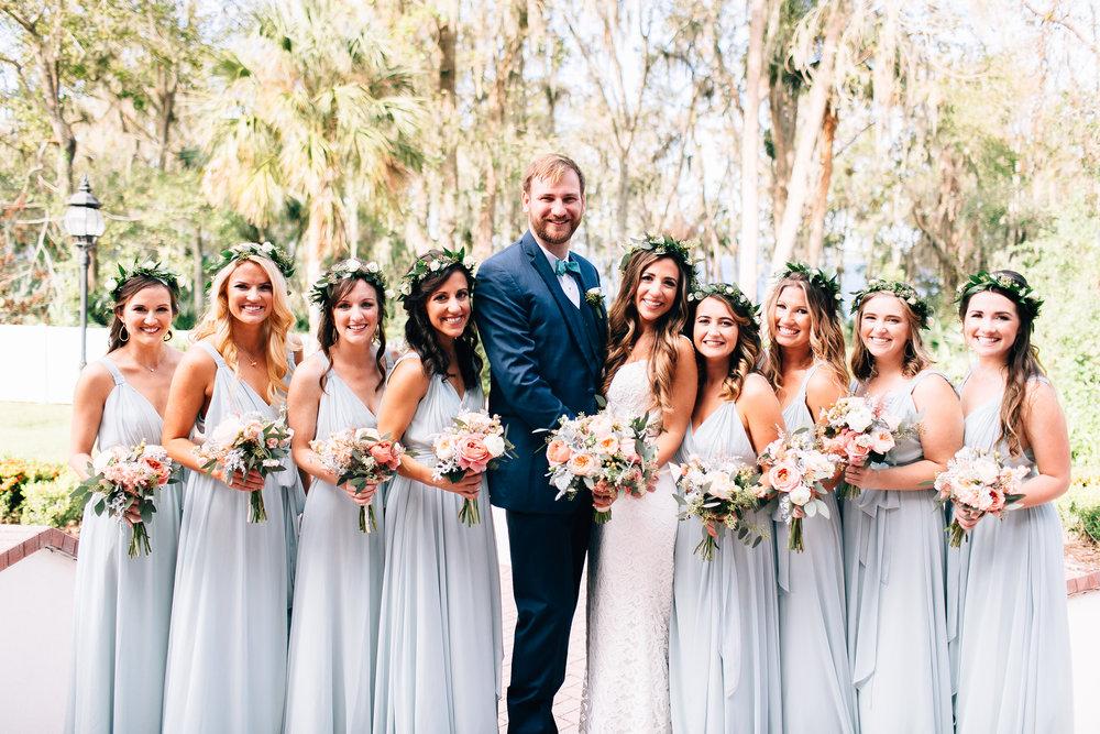 Bohemian Luxmore Grande, bridesmaids in sage dresses Orlando Wedding Planner Blue Ribbon Weddings