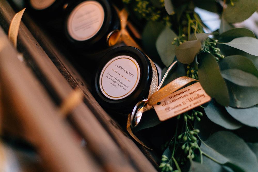 Customized wedding coasters, bacon jam wedding favors