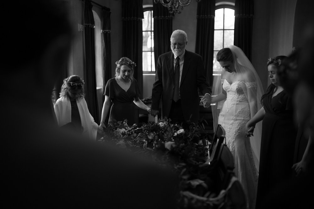 Sweet moments of prayer with the bride and her maids as they prepare for the ceremony
