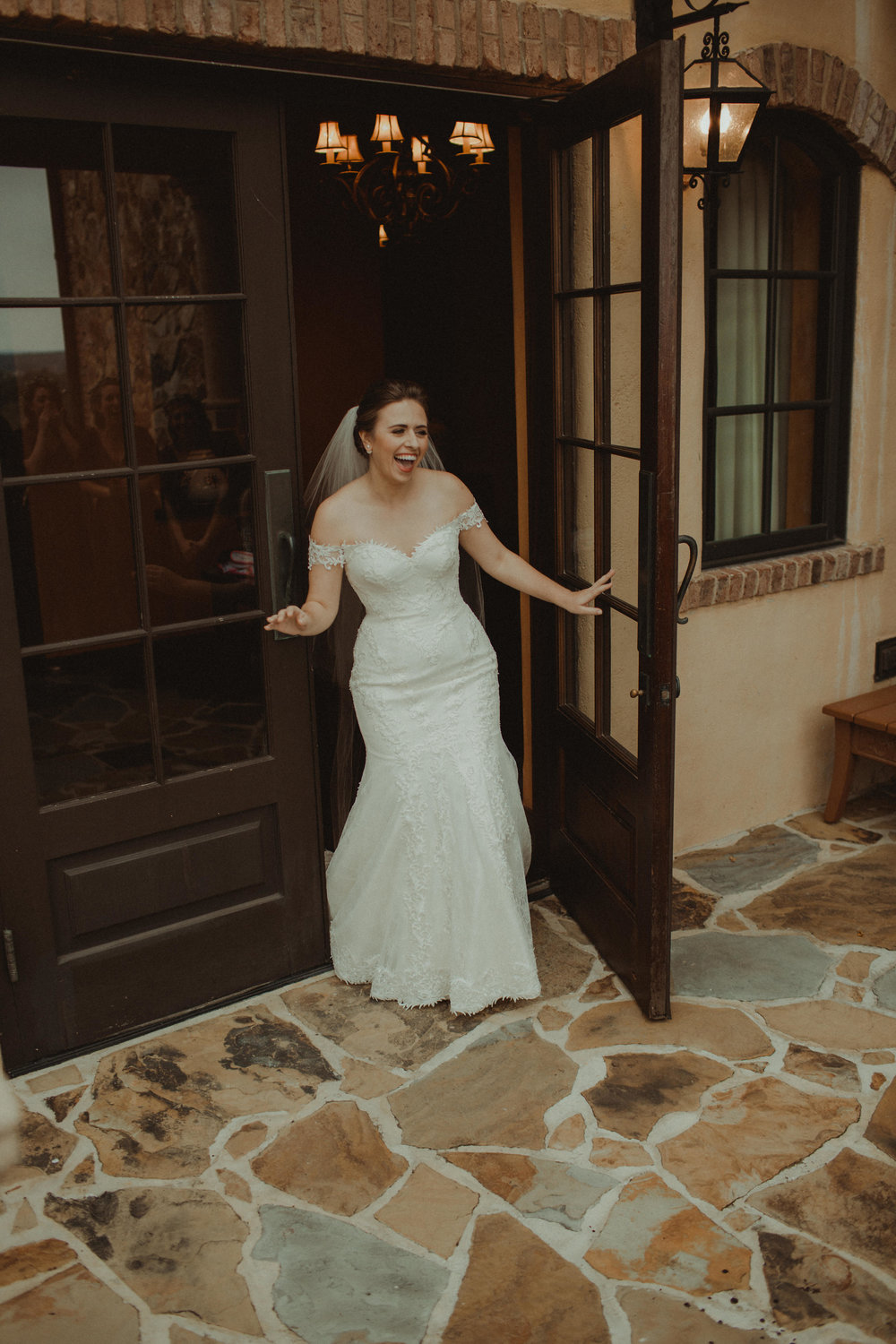 Excited Gabrielle on her Wedding Day