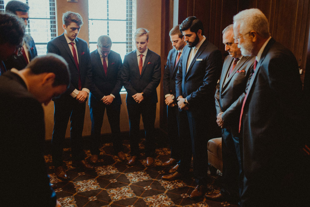 Sweet moments of prayer from the Groom and his men