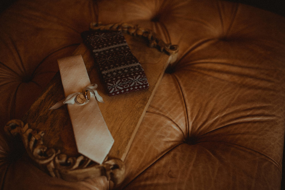 Silk tie, dress socks complete with monogrammed cuff links for the perfect wedding day look