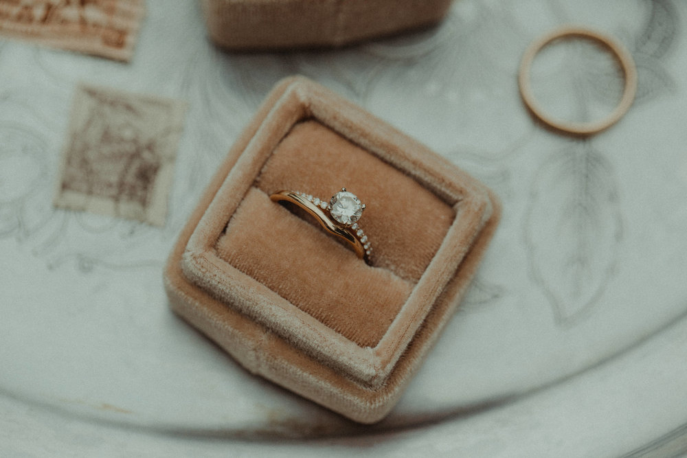 Diamond engagement ring with His & Her wedding bands