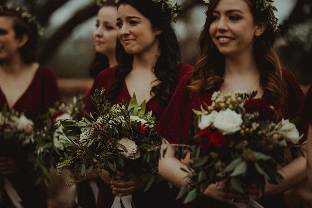 Bridesmaids during wedding ceremony at Bella Collina