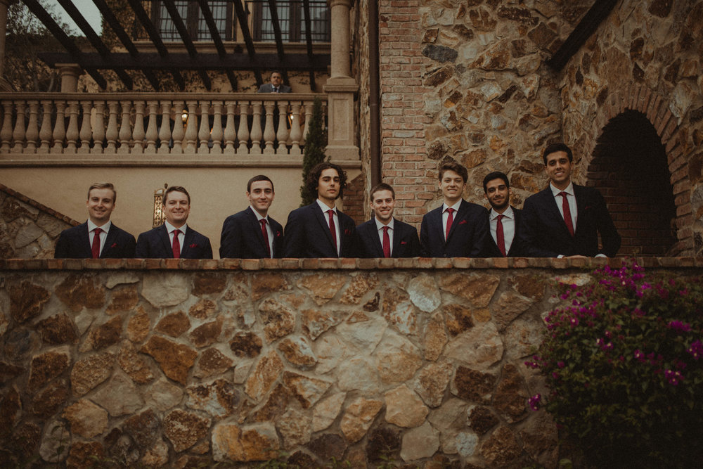 The groomsmen before they walk down the aisle at Bella Collina