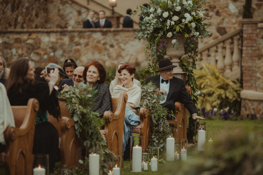 Bella Collina Wedding Ceremony, complete with Church Pews from Orlando Wedding & Party Rentals