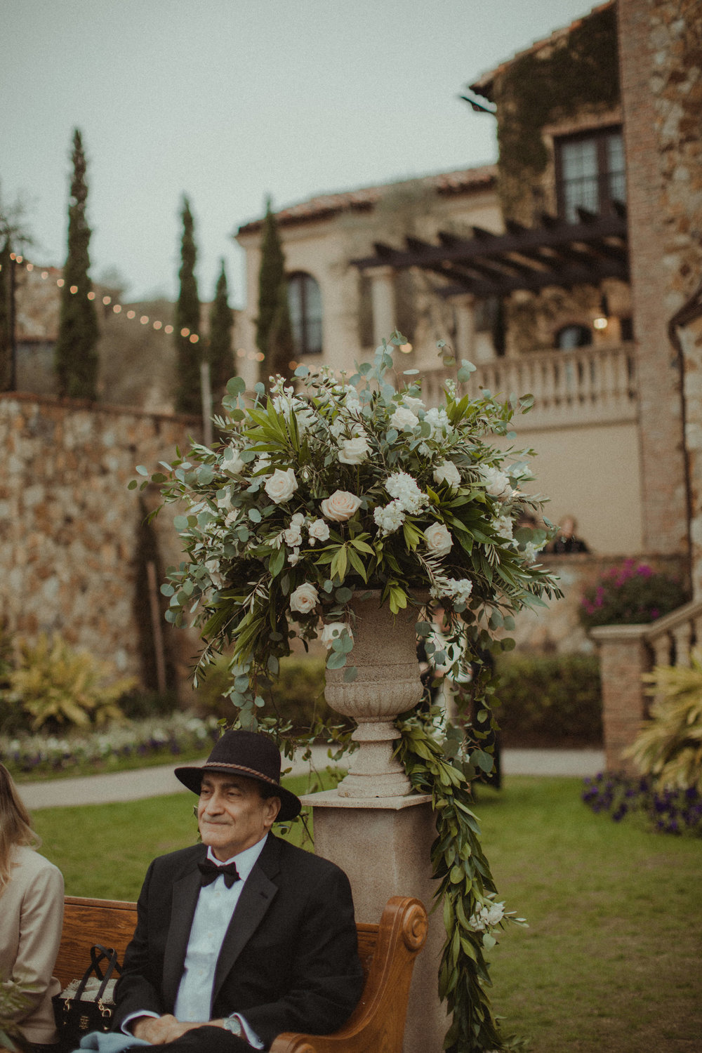 Aisle markers of blush and ivory roses