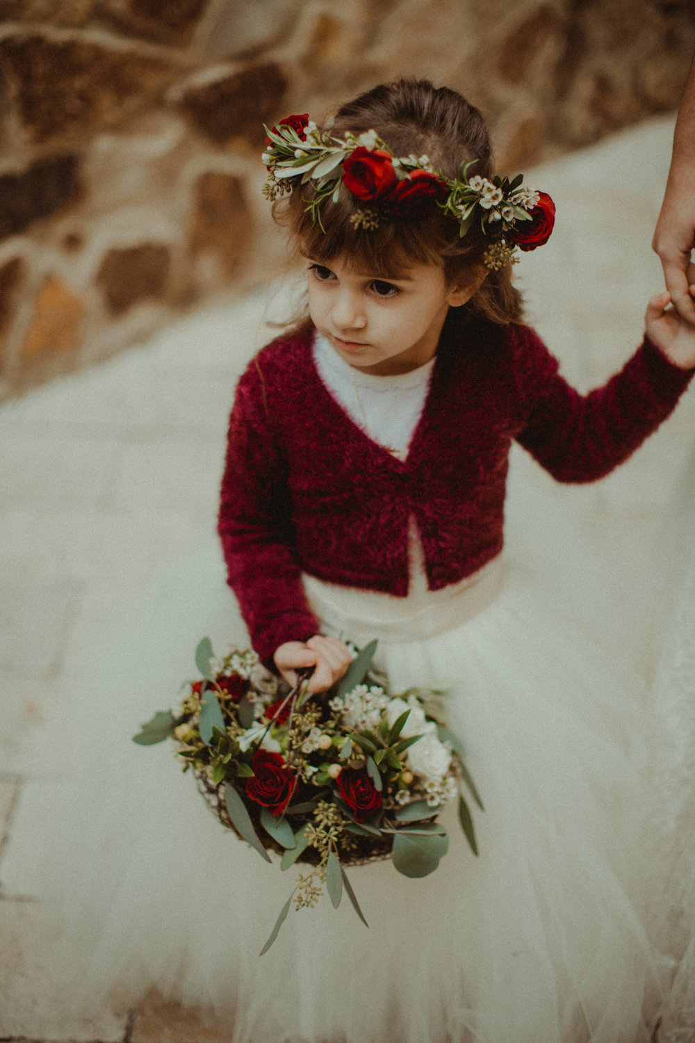Flower girl with rose flower crown and matching crimson sweater