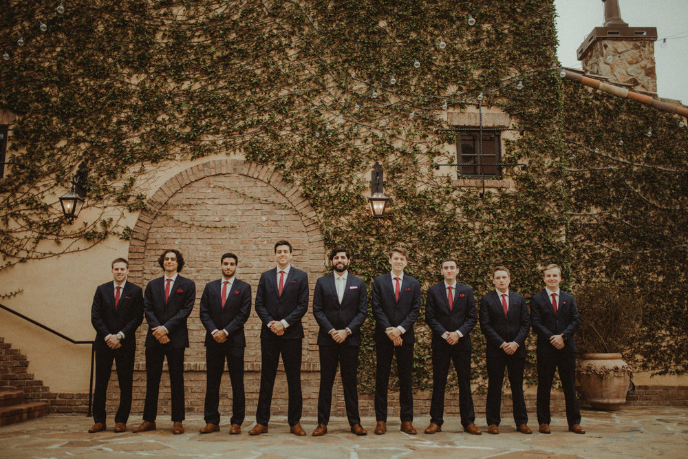 Groom's party at Bella Collina Bell Tower Courtyard