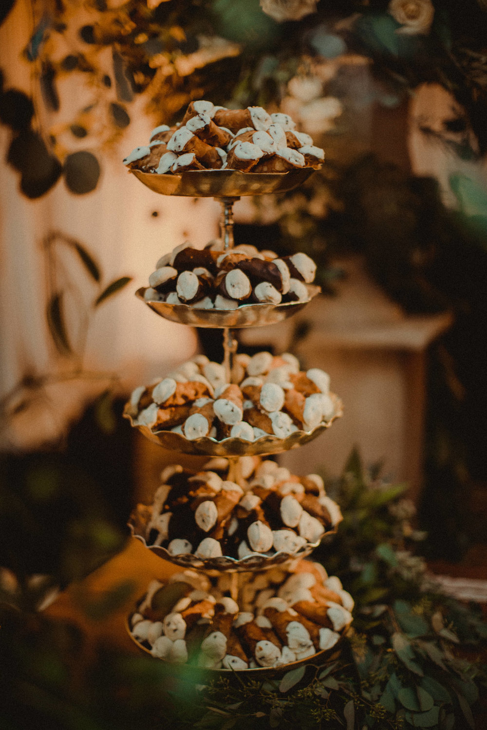 An Italian wedding is complete with a Cannoli Tower