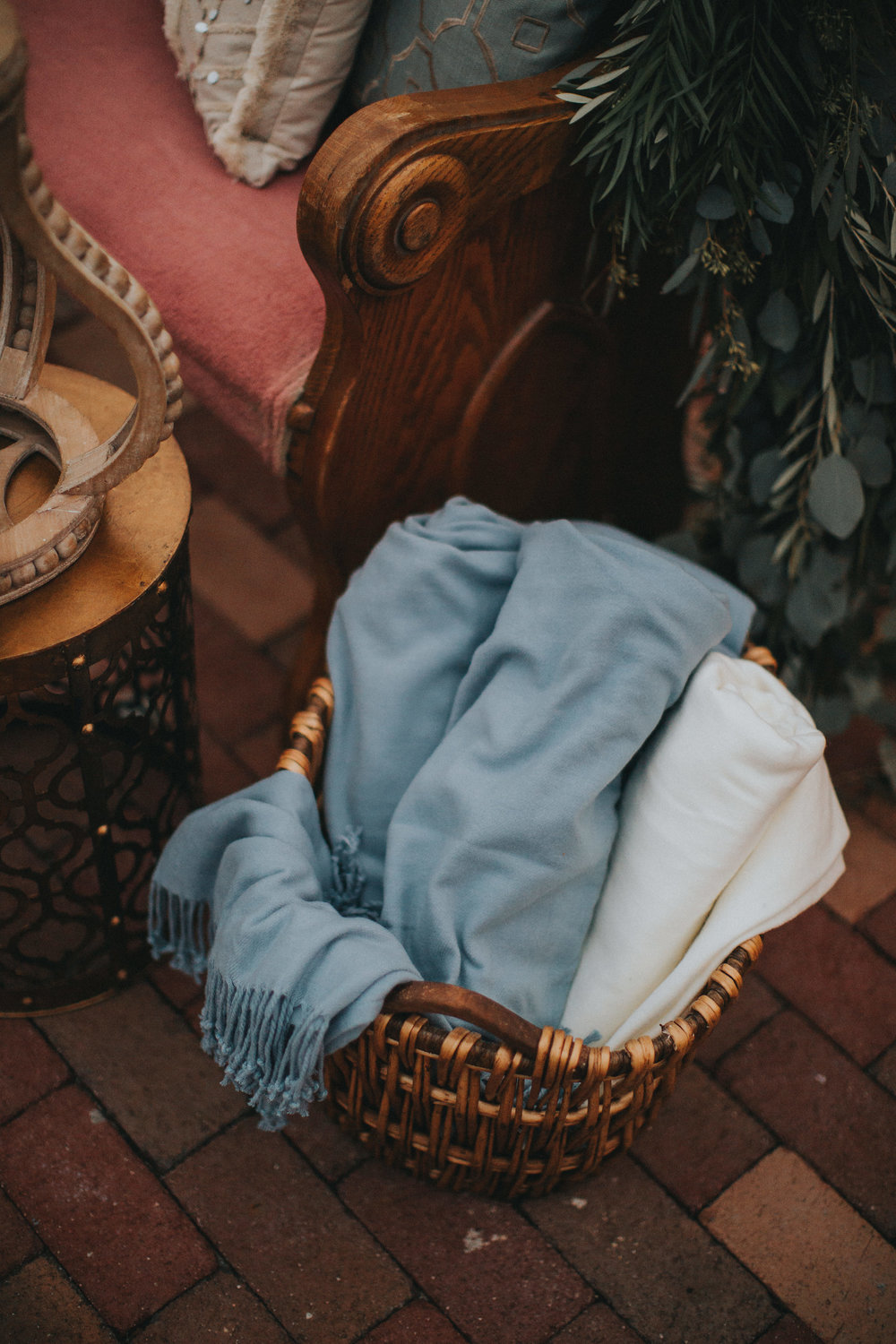 Pale blue throw blankets for the chilly December evening