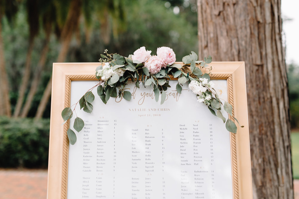 Blush & Gold Seating Chart at Cypress Grove Estate House  Orlando Wedding Florist Bluegrass Chic  Orlando Wedding Planner Blue Ribbon Weddings  Orlando Wedding Photographer JP Pratt Photography  Wedding Ceremony at Cypress Grove Estate House  Tented Lakeside Wedding Reception at Cypress Grove Estate House