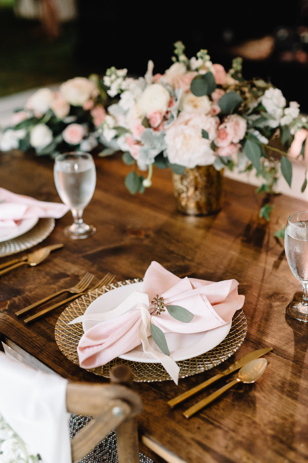 Blush & Gold Sweetheart Table at Cypress Grove Estate House  Orlando Wedding Florist Bluegrass Chic  Orlando Wedding Planner Blue Ribbon Weddings  Orlando Wedding Photographer JP Pratt Photography  Wedding Ceremony at Cypress Grove Estate House  Tented Lakeside Wedding Reception at Cypress Grove Estate House