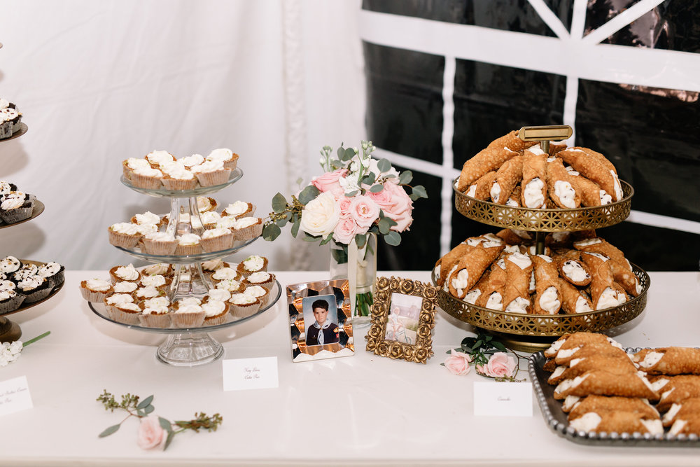 Blush & Gold Dessert Table at Cypress Grove Estate House  Orlando Wedding Planner Blue Ribbon Weddings  Orlando Wedding Photographer JP Pratt Photography  Wedding Ceremony at Cypress Grove Estate House  Tented Lakeside Wedding Reception at Cypress Grove Estate House
