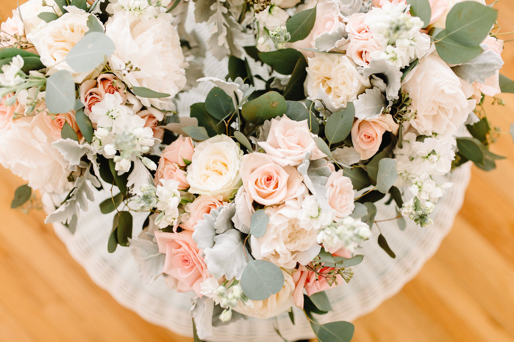 Blush & White Bouquet with Peonies, Garden Roses & Greenery by Bluegrass Chic Orlando Wedding Florist  Orlando Wedding Planner Blue Ribbon Weddings  Orlando Wedding Photographer JP Pratt Photography  Wedding Ceremony at Cypress Grove Estate House  Tented Lakeside Wedding Reception at Cypress Grove Estate House