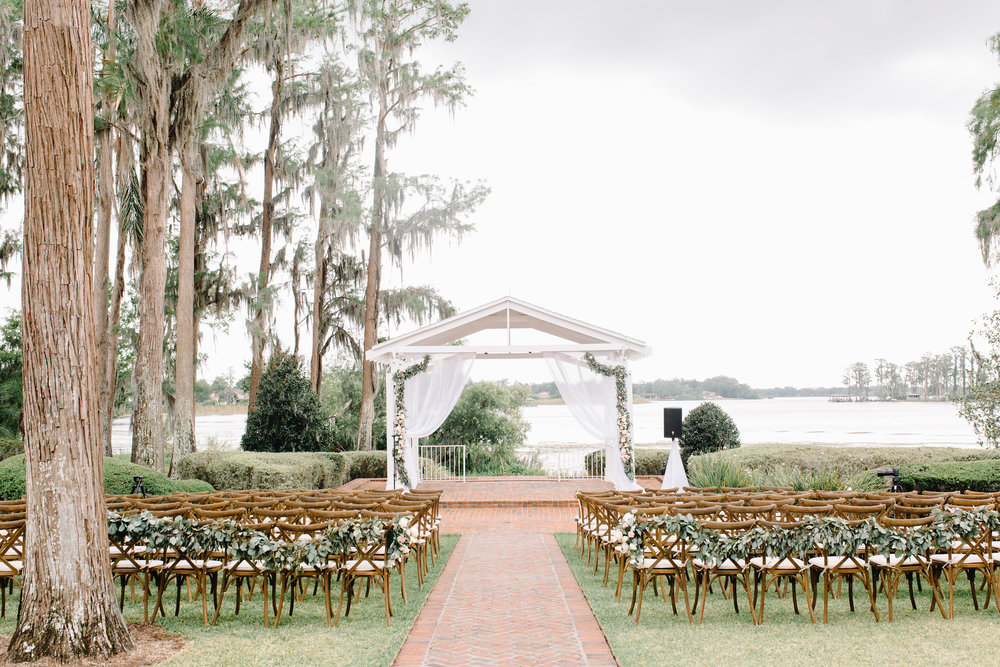 Blush & Gold Wedding at Cypress Grove Estate House  Orlando Wedding Planner Blue Ribbon Weddings  Orlando Wedding Photographer JP Pratt Photography  Wedding Ceremony at Cypress Grove Estate House  Tented Lakeside Wedding Reception at Cypress Grove Estate House