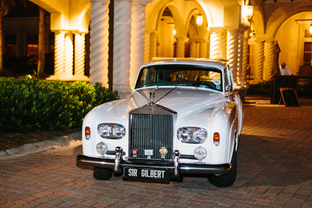 TPC Sawgrass Wedding Getaway Car Sir Gilbert Ponte Vedra Beach Blue Ribbon Wedding Planner Shea Hopely Flowers Debra Eby Photography