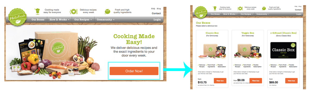 "Example: The text for button one is ""Order Now!"" and links to the order page."