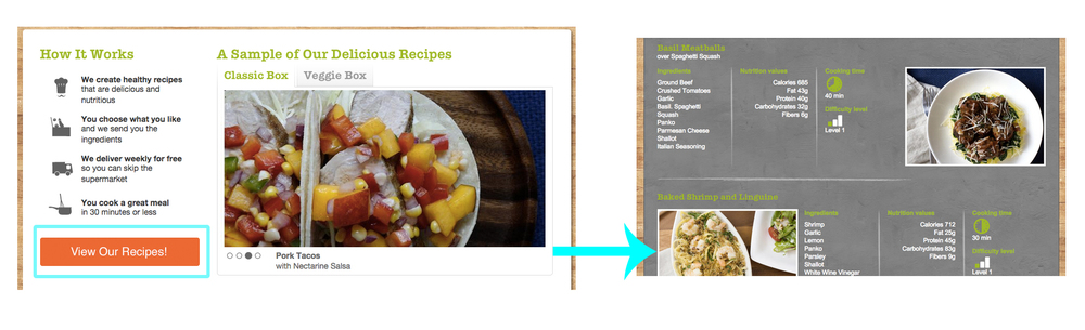 "Example: The text for button two is ""View Our Recipes!"" and links to the Recipes page."