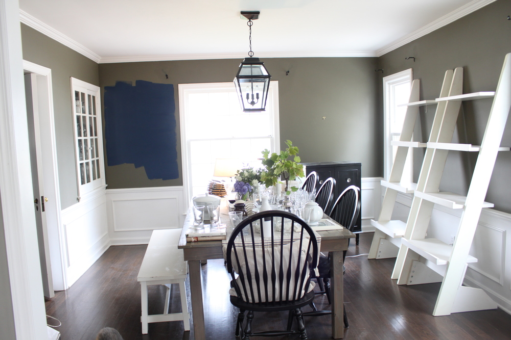 A navy dining room the fat hydrangea for Navy dining room ideas