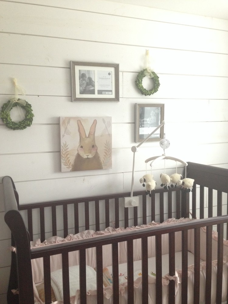 Her Nursery Is Also The Cutest Thing Ive EVER Seen It Has A Bunny Theme Shiplap And My New Favorite Color Sherwin Williams Naval As An Accent Well