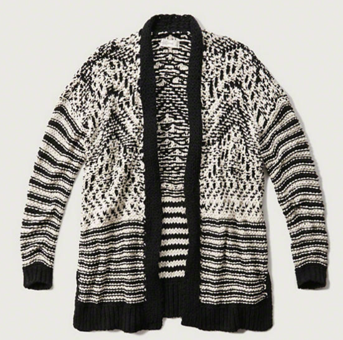 Patterned Jumbo Knit Cardigan