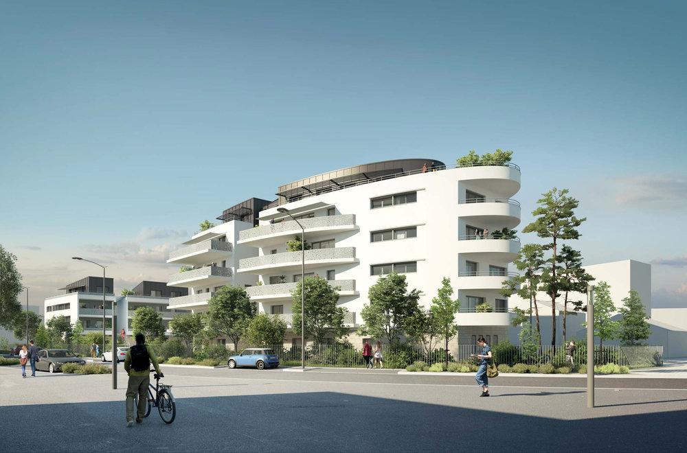 Perspective du projet depuis l'avenue Georges Pompidou